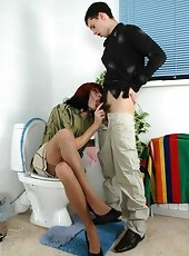 Cock-craving gay sissy sucking and getting his butt loosened in bathroom